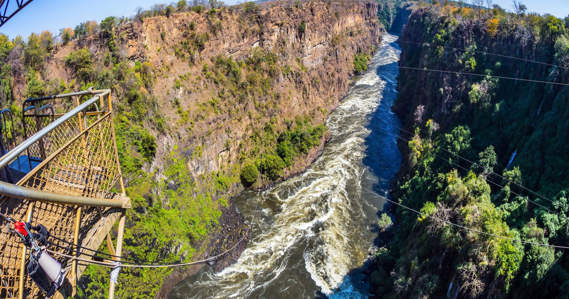 Breathtaking Gorge Swing in the Batoka Gorge below Victoria Falls