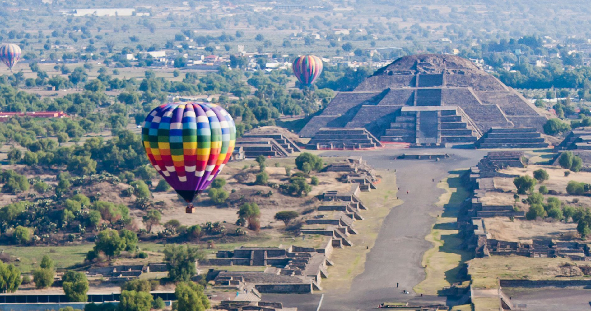 Sunrise balloon ride over Mexico's Teotihuacan Pyramids