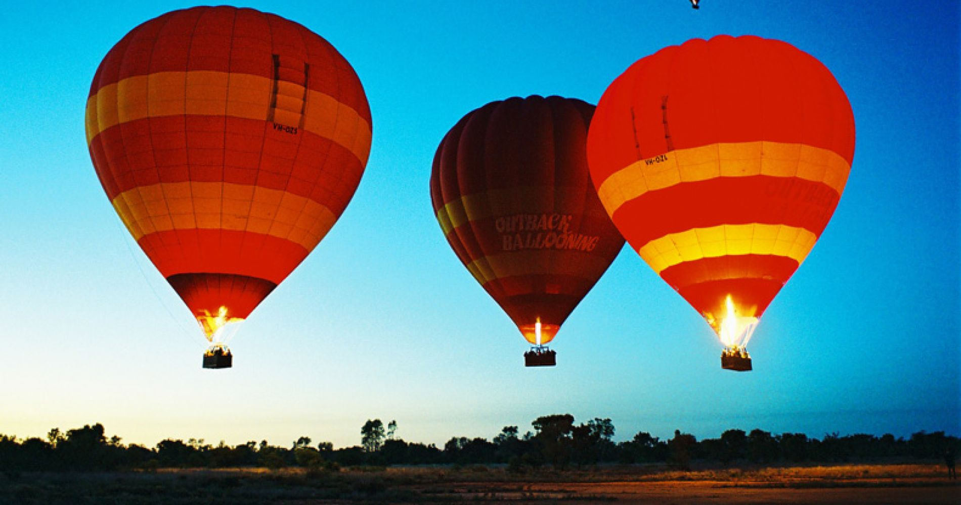 Hot air balloon flight over Central Australian Outback