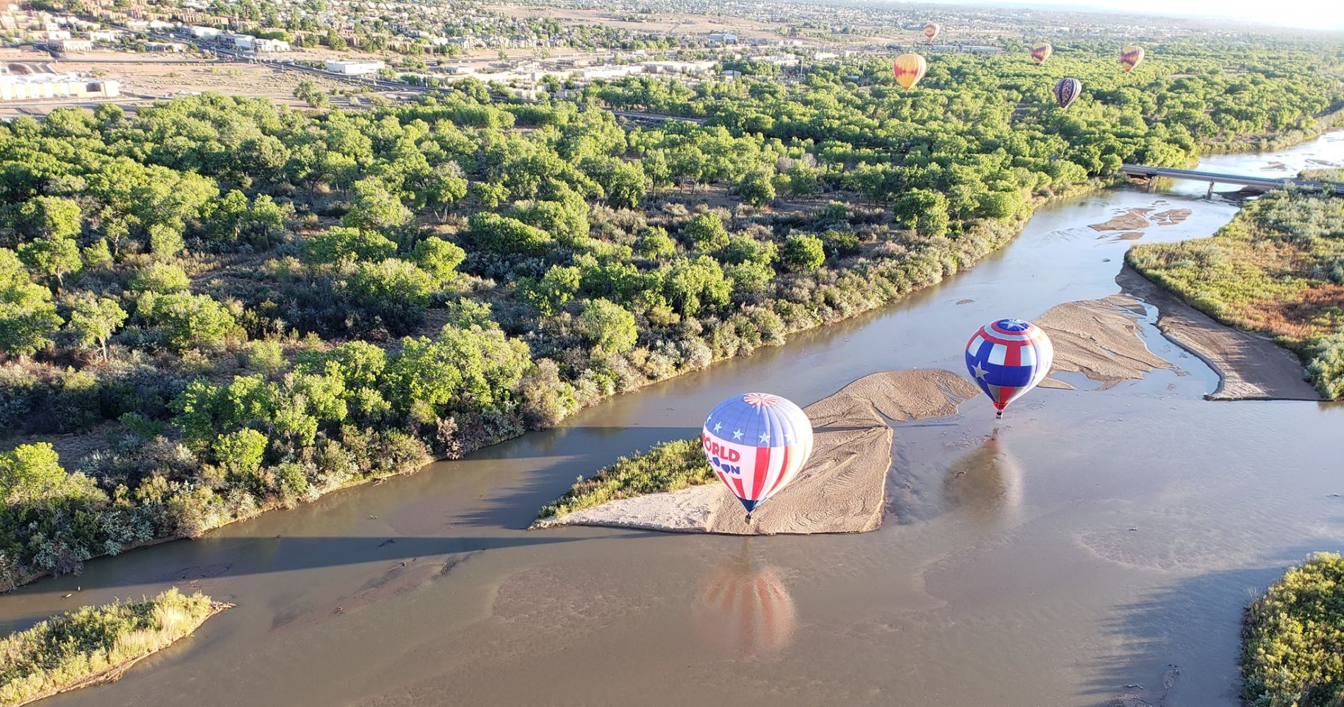 Hot air balloon flight over Rio Grande Valley in New Mexico
