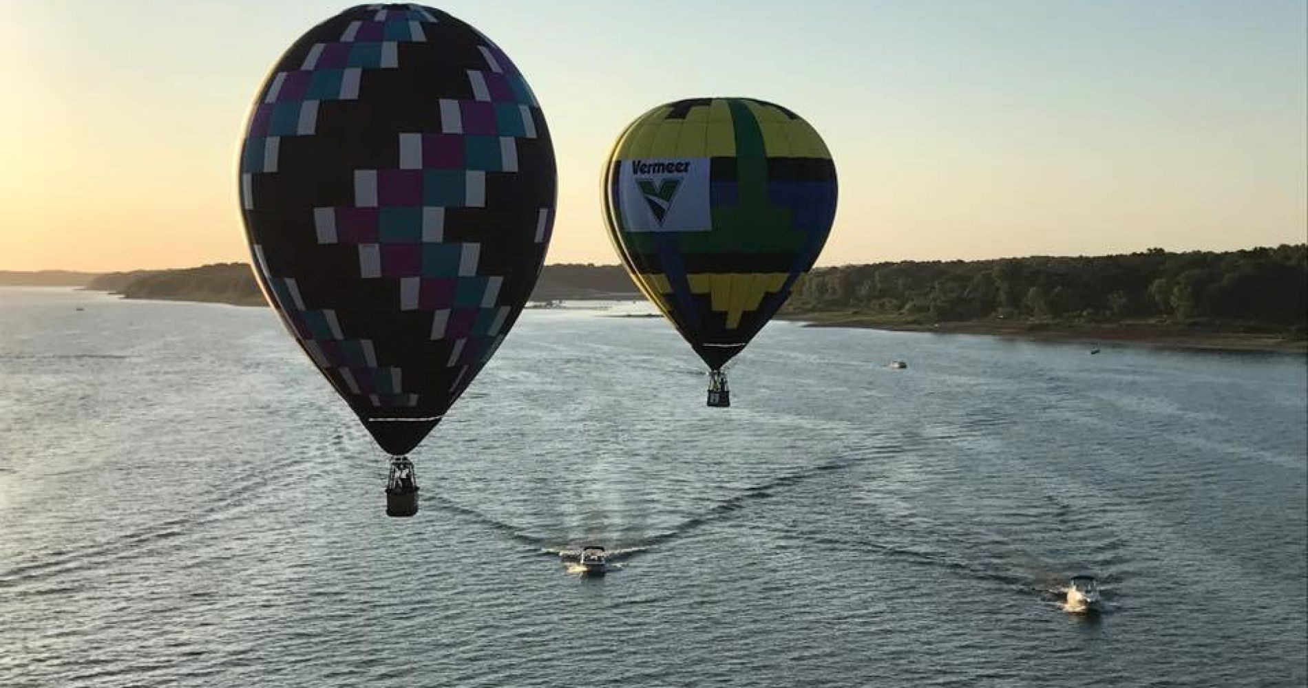 Hot air balloon flight over Iowa