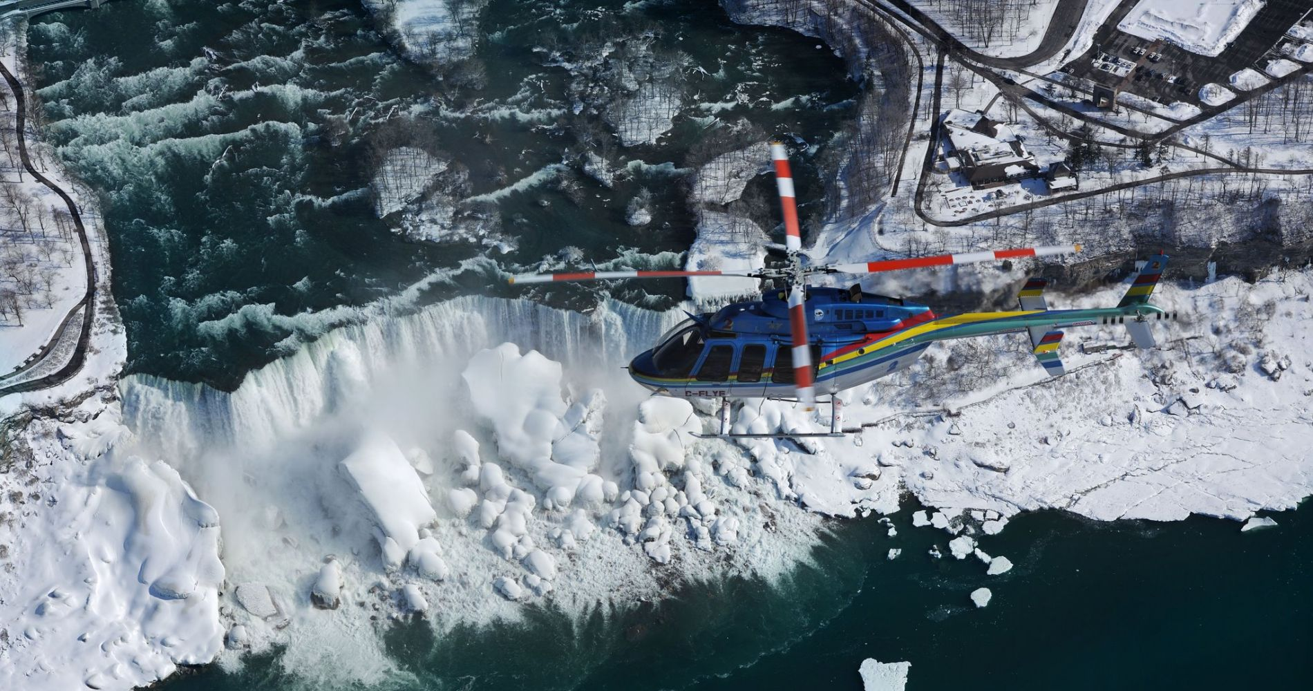 Helicopter flight over Niagara Falls in Canada