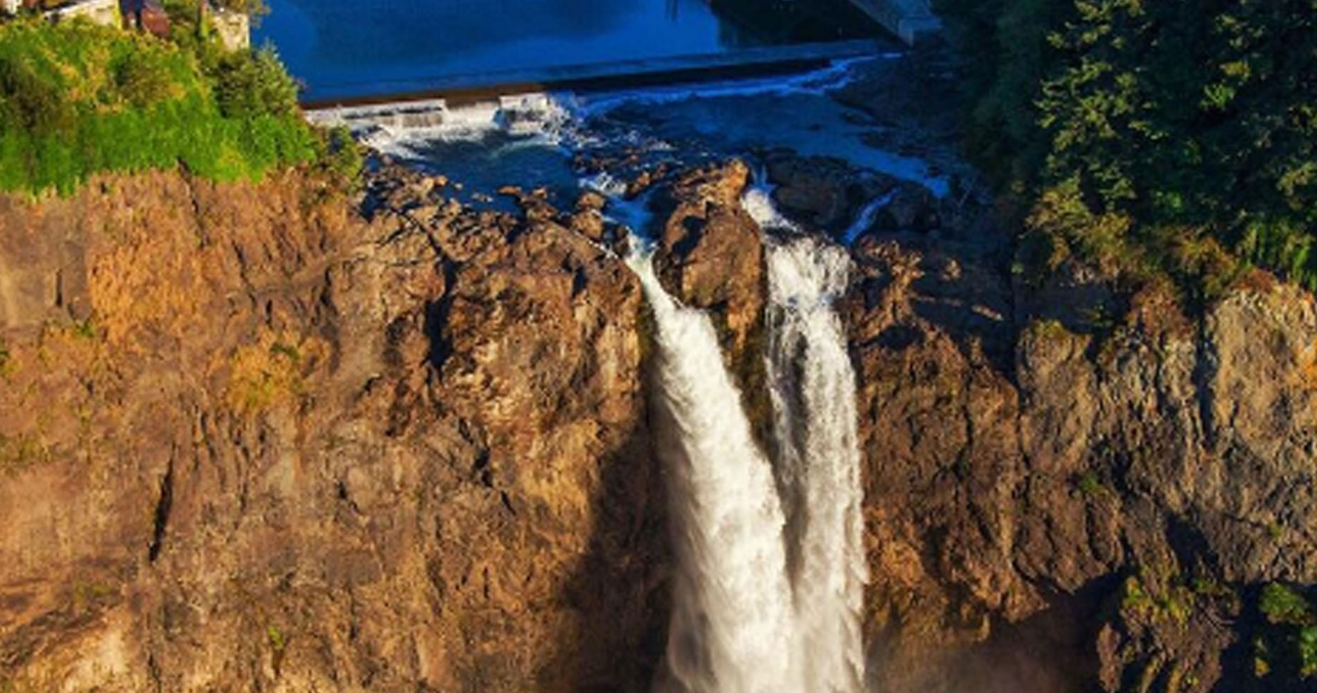 Helicopter flight over Snoqualmie Falls
