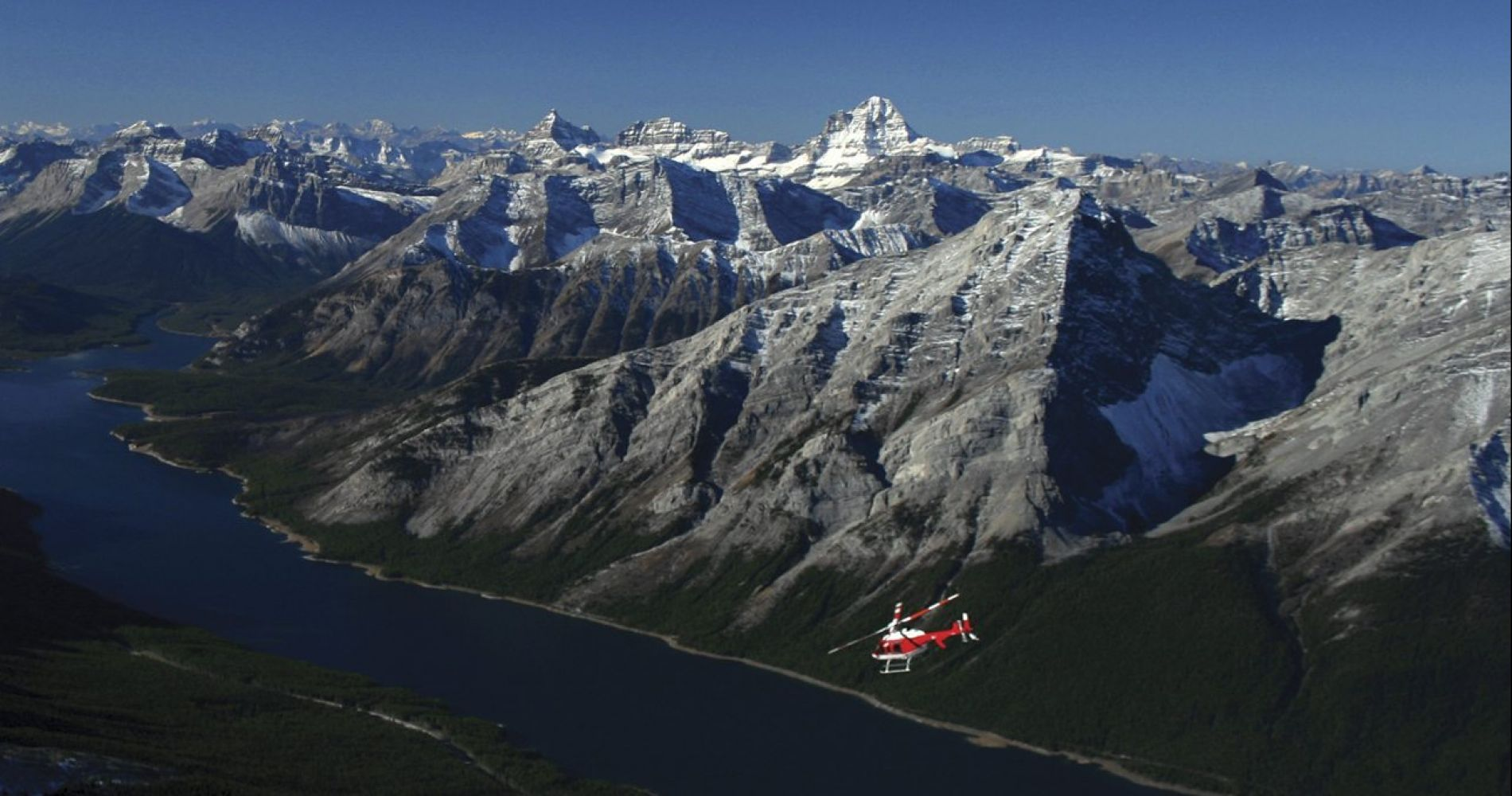 Helicopter flight over Mt. Assiniboine Glacier