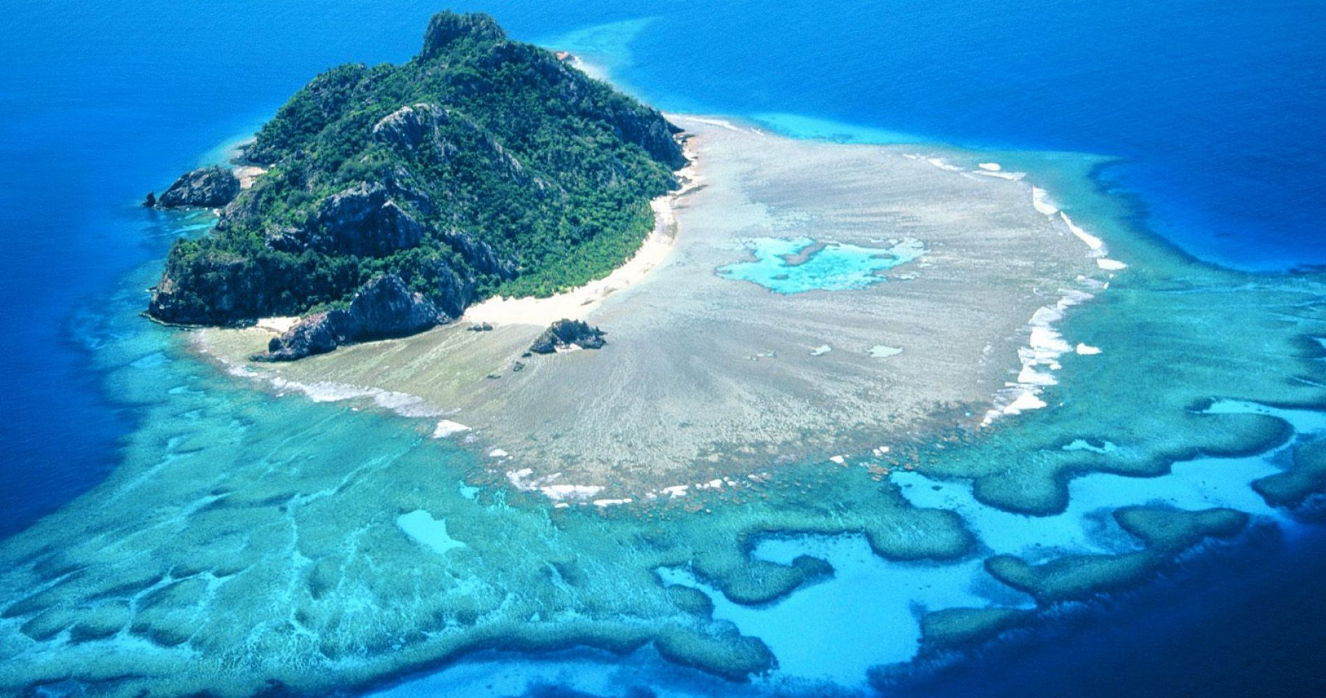 Helicopter flight over Fiji Islands
