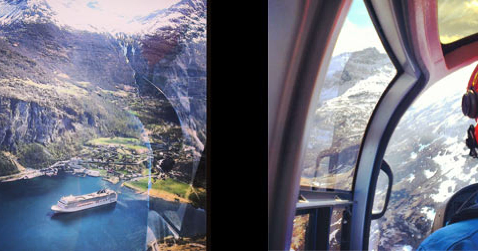 Helicopter flight over Geiranger