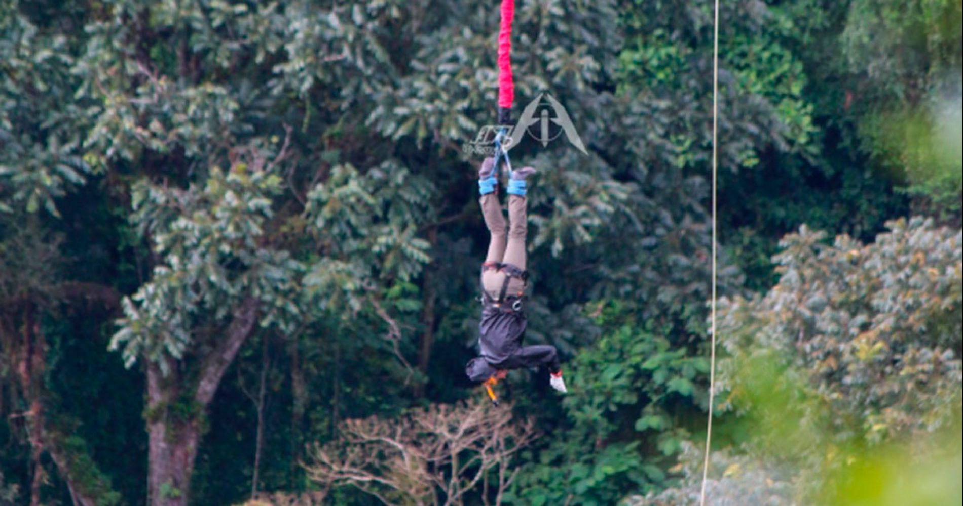 Bungee jump from a moving tram in Costa Rica