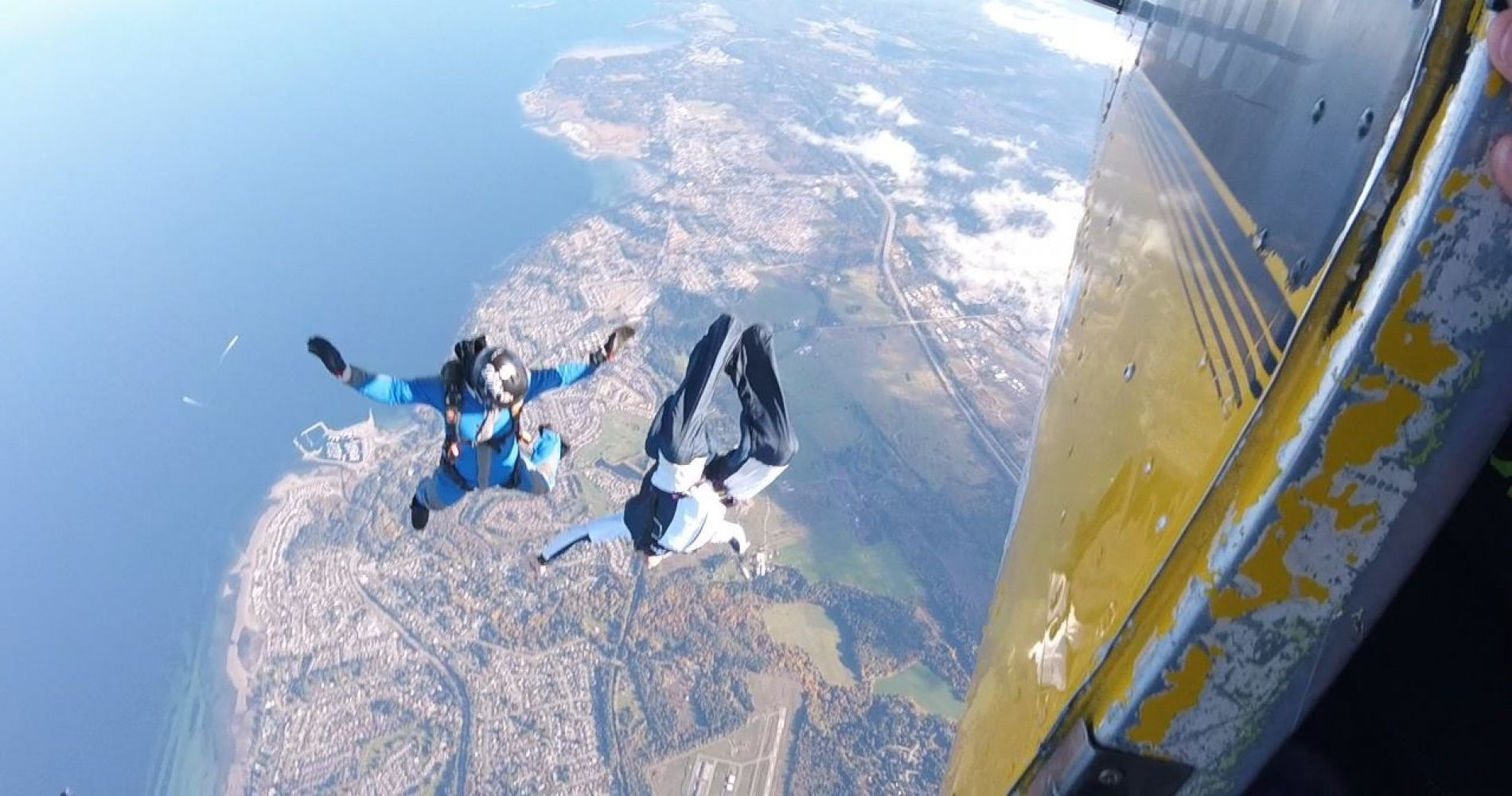 Tandem Jump above the Qualicum Beach in Canada